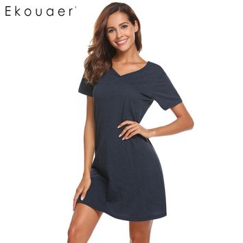 Ekouaer Women Casual Night Dress Sleepwear Cotton V-Neck Short Sleeve Solid Nightgown Lounge Dress Female Night Sleeping Dress