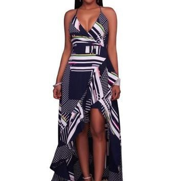 """ASYM"" Plaid Strappy Women's Maxi Dress"