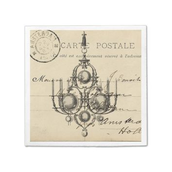 Vintage Chandelier French Postcard Napkin