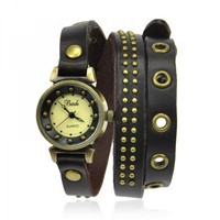 Leather Fashion Wrap Watch