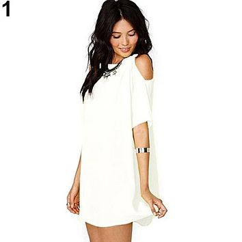 Off shoulder chiffon short sleeve T-shirt mini dress  Sizes:  S, M, L, XL, XXL, XXXl