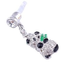 3.5mm Cute Crystal Panda Anti Dust Earphone Plug Stopper for Iphone 4 4s HTC