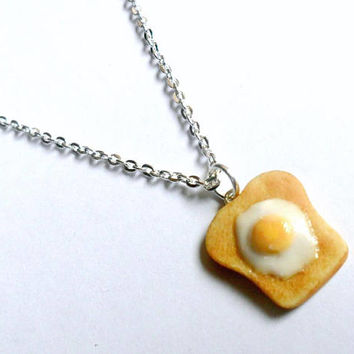 Egg on Toast Necklace, Cute :D