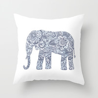Floral Elephant Throw Pillow by Janelle Krupa