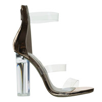 Mono10 RoseGold By Wild Diva, Perspex Round Block Heel Sandal w Clear Triple Strap. Transparence Lucite