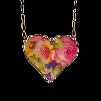 Broken china jewelry heart shaped necklace vintage Summertime chintz  made from a broken plate