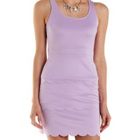Lavender Scalloped Open Back Bodycon Dress by Charlotte Russe