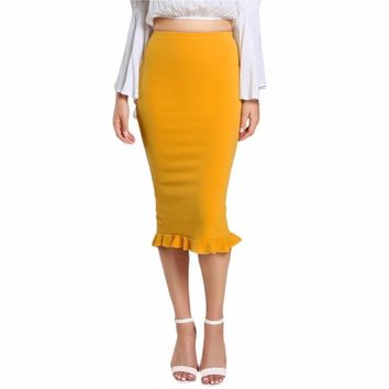 Yellow Midi Pencil Skirt