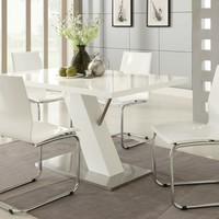 5 pc Nameth Modern II collection white high gloss finish top pedestal base dining table set with white chairs