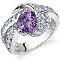 Mystic Divinity 1.25 carats Amethyst Ring in Sterling Silver Rhodium Finish Size 8