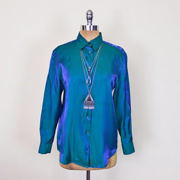 Vintage 90s Blue Green Iridescent Shirt Blouse Top Shiny Metallic Shirt Button Up Shirt 90s Shirt 90s Grunge Shirt 90s Club Kid Women PS P S