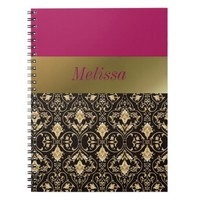 Gold damask and Red Notebook