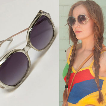70s Vintage Oversized Sunglasses | Designer Style Bugeye Lucite and Copper Framed Hippie Retro Tinted Sunglasses for Women 1970s 80s Shades
