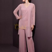 [US$198.99] Lovely Pink Three Piece Long Sleeves Mother of the Bride Pant Suit