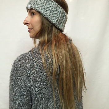 Knit Headband Ribbed Gray Tweed Warm And Cozy