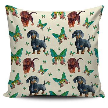 Butterfly Dachshund Pillow Cover