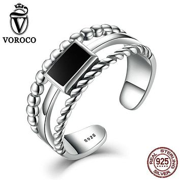 VOROCO Black Square Sterling Silver 925 Authentic Cuff Adjustment Finger Rings Stackable Women Ring Fine Jewelry VSR001