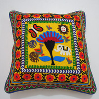 Indian suzani Cushion Cover, Tree Of Life Cushion Cover, Ethnic Home Décor, Cotton Suzani Embroidery Cushion Cover, 16 By 16 Inches