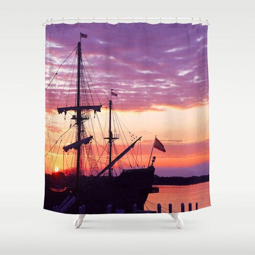 Boat shower curtain ship shower curtain from for Sunset bathroom designs