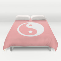 Coral Pink Harmony Yin Yang Duvet Cover by BeautifulHomes | Society6