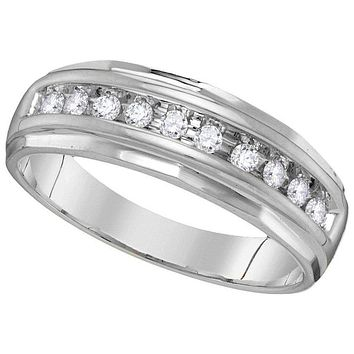 14kt White Gold Men's Round Diamond Single Row Grooved Wedding Band Ring 1/4 Cttw - FREE Shipping (US/CAN)