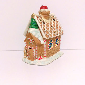 Gingerbread House Christmas decoration Christmas Candle holder Christmas scene Christmas in July Christmas village