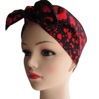 Blood Splatter Black Fabric Head Wrap Scarf
