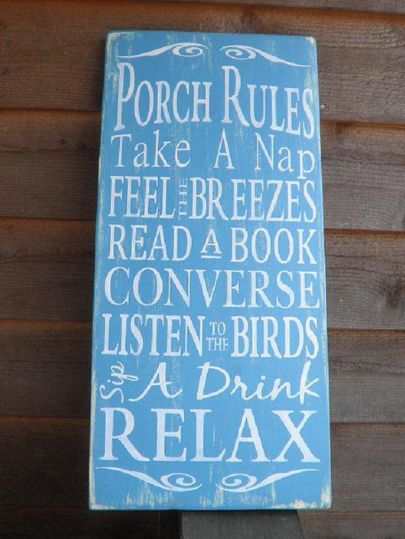 Porch Rules Wood Sign Outside Decor From