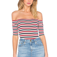 Capulet Short Sleeve Shoulderless Bodysuit in Red, Cream, & Navy Stripe