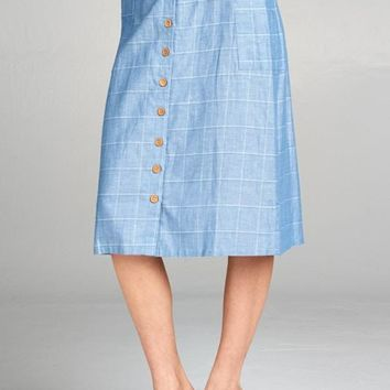 Mia Cotton Linen Button Front Skirt in Chambray