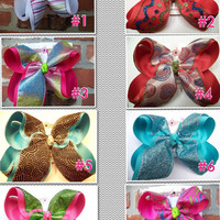 Choose 3 JUMBO X LARGE Summer Fun Glitter Sparkle Layer Ribbon Hair Bow Karens Creations FREE Shipping