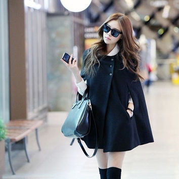 Winter 2014 new large size women small fragrant all-match solid round neck fat MM cloak female wool coat = 1956992324