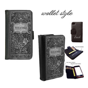 Book of Spells witches grimoire handbook Smartphone case for iphone 4 4s 5 5s 5c 6 plus Galaxy S3 S4 S5 (plastic snap on, leather wallet)
