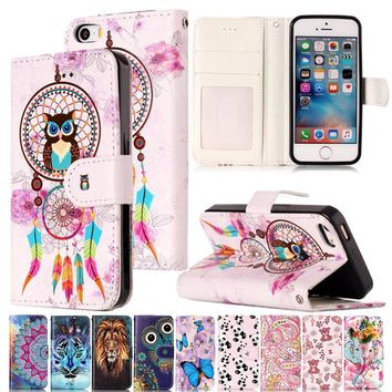 Varnish Relief Leather Case For iPhone 5s SE 5G Cover Leather Flip Wallet Phone Case For iPod touch 5 Mobile Phone Shell