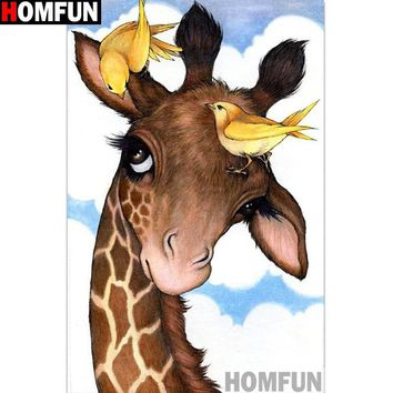 5D Diamond Painting Giraffe and Yellow Birds Kit