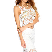 Sexy White Floral Crochet 2 Piece Party Dress