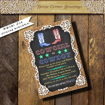 Gender Reveal Invitation Cowboy Boots Shower invitation chalkboard lace Burlap Gender Neutral Rustic invitations Cowboy Cowgirl