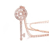 Key Encrusted Crystal Cubic Zirconia CZ Gold Plated Titanium Necklace