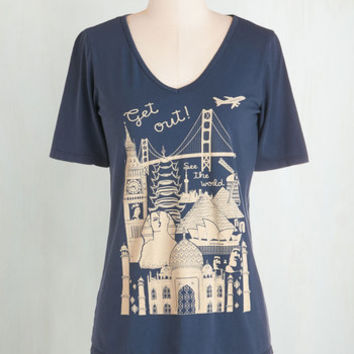 Travel Mid-length Short Sleeves Let's Rock and Roam Tee