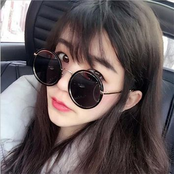 Women Men Sunglasses Round New Korean Fashion Colorful Retro  Sun Glasses Frame Metal AC Lens HD Polarized UV400 S044