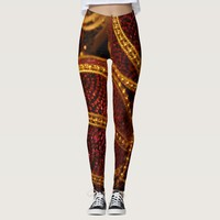 Dark rogue and gold metal pattern leggings