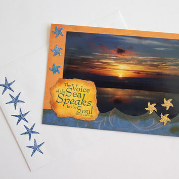 Ocean Sunset Photo Art Card, Mixed Media Notecard of California Coast, Inspirational Quote by Kate Chopin, Atmospheric Any Occasion Card