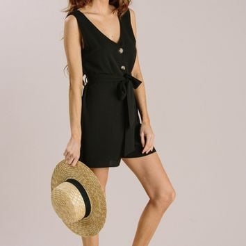 Arielle Black Sleeveless Button Romper