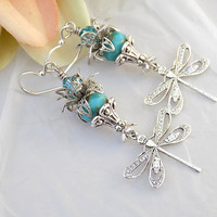 Dragonfly Earrings Turquoise Dangles Handmade Art Nouveau Dragonfly Earrings Victorian Dragonfly Earrings