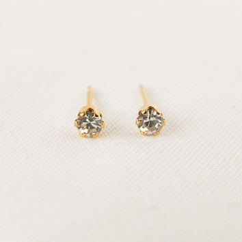 Crystal Clear Gemstone Studs // Gold Gemstone Earrings, Rhinestone Earrings, Bridesmaid Earrings, Dainty, Tiny Studs, Cartilage Earrings