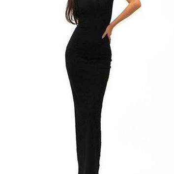Black Sleeveless Bodycon Maxi Dress