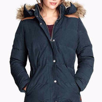 Faux Hood Button-Up Padded Jacket