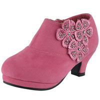 Kids Ankle Boots Floral Rhinestone Accent High Heel Booties Orange SZ