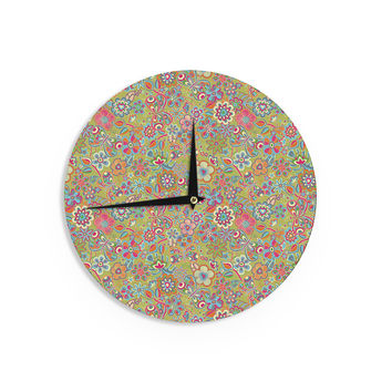 "Julia Grifol ""My Butterflies & Flowers in Green"" Rainbow Floral Wall Clock"