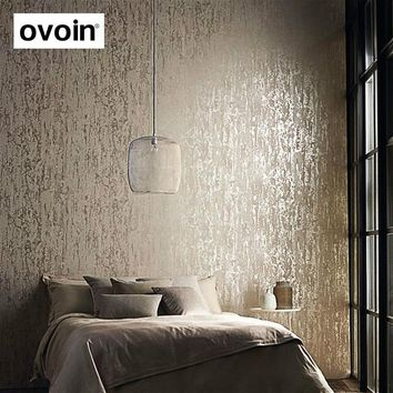 Solid Color Embossed Textured Wallpaper 3d Flocking Non-woven Wall Paper Roll Living Room Bedroom Wallpaper for Walls
